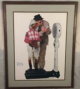 Vintage Framed Norman Rockwell Weighing In Hand Signed Print Black Ink Auto