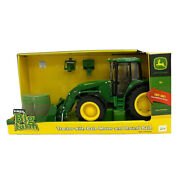 John Deere 116 Tractor/vehicle W/ Bale Mover And Round Bale Farm Toys Light/sound