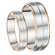 His And Hers 5and7mm Palladium And 9ct Rose Gold Wedding Ring