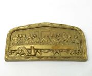 Vintage Gold Painted The Last Supper Chalkware Wall Plaque Relief Wall Hanging