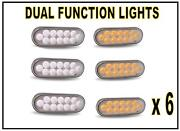 Six 12 Led Trux Dual Revolution 6 Oval Clear Lens Amber-white Back-up Kit