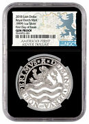 2018 Netherlands 1oz Silver Lion Dollar Ngc Gem Proof First Day Issue Black Core