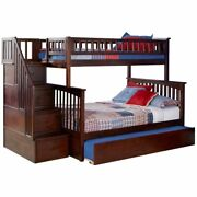 Rosebery Kids Twin Over Full Staircase Bunk Bed With Trundle In Walnut