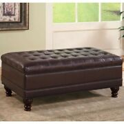 Bowery Hill Faux Leather Storage Ottoman In Dark Brown
