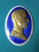 Edward Viii] Dovey English Pottery. Oval Blue And Gold Raised Porcelain Plaque