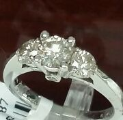 14k White Gold Three Stone Wedding Ring 1.25cttw 0.65ctcnt. G Color Vs2 Quality
