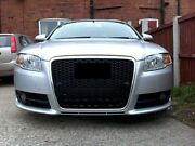 For Audi A4 B7 04-09 Badgeless Mesh Grill Debadged Front Grill Black Silver Rs4_