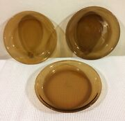 Fire King Oven Proof 9 Pie Plate Anchor Hocking Usa Amber Brown Glass Set Of 3