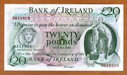 Bank Of Ireland Northern 20 Pounds Nd 1980s P-67ab Unc Rare