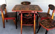 Vintage Khokhloma Table And Chairs Russian Children Furniture 6 Piece Lot