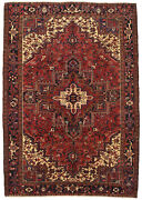 Vintage Tribal Oriental Heriz Rug 8and039x11and039 Red/blue Hand-knotted Wool Pile