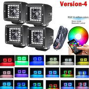 3inch 4d Led Work Light Fog 3x3 Pods With Rgb Halo Ring Chasing Pack 4