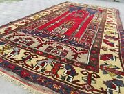 1930s Antique Wool Pile Vegy Dye Tribal Prayer Rug 4and0398andtimes8and0396