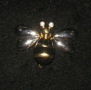 Bee Pin Silver Tone Goldtone Crystal Accents Antenna Springs Move Wings New