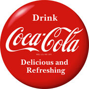 Drink Coca-cola Delicious Red Disc Removable Wall Decal 1930s Style Button