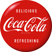 Coca-cola Delicious Refreshing Red Disc Decal Wall Decal 1950s Style Button