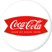 Coca-cola Fishtail Logo Disc White Removable Wall Decal Button 1960s Style