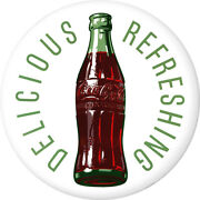 Coca-cola Delicious Refreshing Disc White Removable Wall Decal Button Style