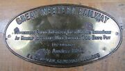 Great Western Railway Sign Grease Nipples Forfeit Two Days Pay Embossed Brass