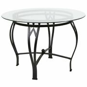 Flash Furniture 42 Round Glass Top Dining Table In Clear Black