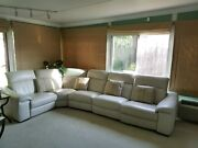 Macyand039s White Leather 5 Piece Sectional Powered Couch Chair Lounge Set