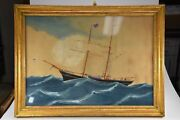 Tall Sailing Ship Sailboat Maritime - Acrylic On Paper - Gold Framed Painting