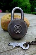 Antique Padlock With One Working Key Unique Logo Collector Rare 27-13