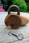 Antique Padlock With One Working Key Unique Brass Collector Rare 27-14