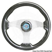Osculati Technic Steering Wheel Carbon Coated/silver 350 Mm