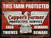 Cappers Farmers Insurance Classic Farm Tractor Metal Sign