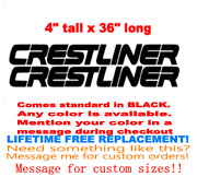 Pair Of 4 X 36 Crestliner Boat Hull Decals Marine Grade. Your Color Choice.99