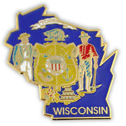 Pinmartand039s State Shape Of Wisconsin And Wisconsin Flag Lapel Pin