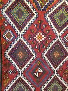 Primitive Antique 1930-1940s Wool Pile 3and0393andtimes10and0394 Pomegranate Dye Runner Rug