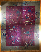 Extra Large Antique Chinese Oriental Area Rug Carpet. Art Deco Floral Wool