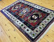 Exquisite Vintage 1950-1960and039s Wool Pile Vibrant Natural Color Rug 4and0395andtimes6and03910