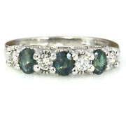 1 Ctw Natural Real Alexandrite And Diamond Solid 14k White Gold 7 Stone Band Ring