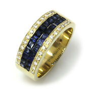 1.7 Ctw Natural Princess Blue Sapphire And Diamond Solid 14k Yellow Gold Band Ring