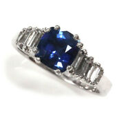 1.5 Ct Tw Natural Blue Ceylon Sapphire And Diamond 14k White Gold Engagement Ring