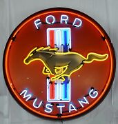 Giant Ford Mustang 3 Ft. 36 Round Neon Sign 9mustb W/ Free Shipping