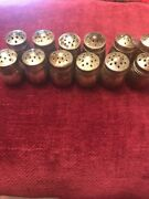 """Lot Of 12 Vintage Sterling Small Salt And Pepper Shakers. 1 .25""""tall"""