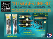 Outrigger Rigging Kit 4 Lines 50/30 Ft + Hal-lock Double Pulleys + Release Clips