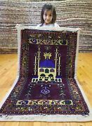 Primitive Beautiful Vintage 1950-1960s Wool Pile 2and0397and039and039x4and0394and039and039 Vegy Dye Prayer Rug
