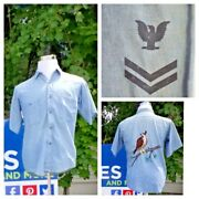 Us Navy Wwii Chambray Shirt Men's S Reverse Embroidery Denim Invs8073