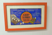 Original Art Painting Trolley Card Sign Advertising Lucky Strike Cigarettes