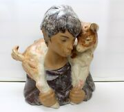 Lladro Porcelain Boy With A Baby Goat