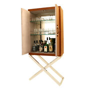 Wall Side Standing Handcrafted Brown Leather Bottle Holder Bar Cabinet