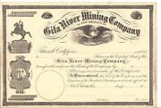 Gila River Mining Company. New Orleans La....1800and039s Unissued Stock Certificate