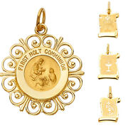 14k Yellow Gold Religious Communion Pendant For Woman Men Gold Collection