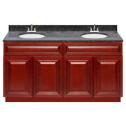 60 Vanity Cabinet Cherryville With Granite Top Blue Butterfly And Faucet Lb5b