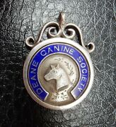Deane And District Canine Society Hallmarked Enamel Silver Medal Fob Bolton Lancs